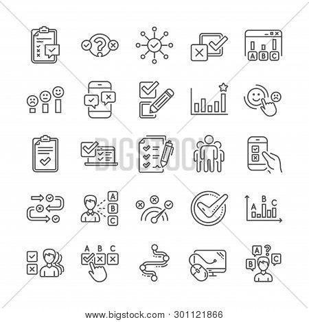 Survey Review, Report Quiz Line Icons. Opinion, Customer Satisfaction Feedback And Test Survey Icons