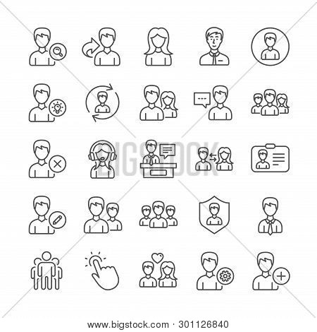 User People Line Icons. Profile, Group And Support Icons. Id Card, Teamwork People And Businessman S
