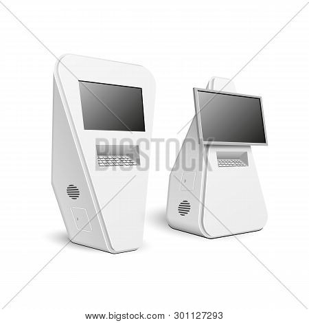 Mockup Payment Information Terminal Interactive Display, Atm, Pos, Poi, Outdoor Indoor Advertising S