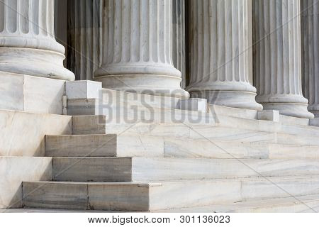 Architectural Detail Of Marble Steps And Ionic Order Columns