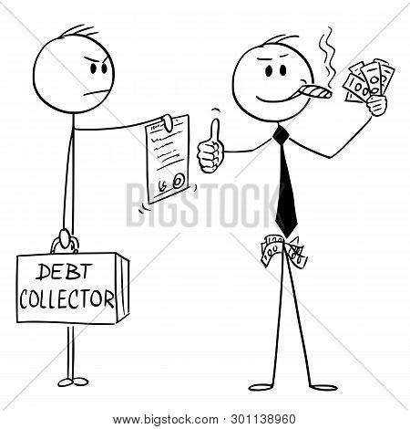 Vector Cartoon Stick Figure Drawing Conceptual Illustration Of Confident Successful Man Or Businessm