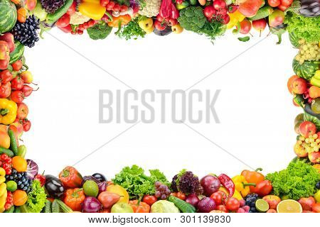 Fruits and vegetables frame on white background