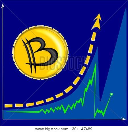 Bitcoin Rapid Growth On Cryptocurrency Exchanges - Vector Graphics, Illustration