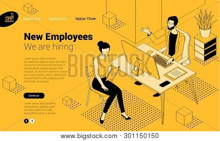 Balck And Yellow Isometric Employee Hiring Interview Concept  With Man And Woman People Characters.