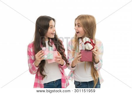 Perfect Present For Teen. Birthday Present. Girls Sisters Or Friends Hold Gift Boxes. Intriguing Mom