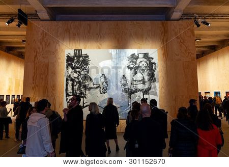 Venice, Italy - May 08: The Painting Of George Condo Titled Double Elvis Exposed At The Arsenale Dur