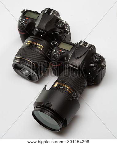 Saint-petersburg, Russia - April 27, 2018: Nikon D850 And Nikon D800e Slr Cameras.