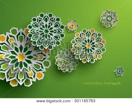 Paper Graphic Of Islamic Geometric Art. Islamic Decoration. Ramadan Kareem Is The Name Of The Glorio