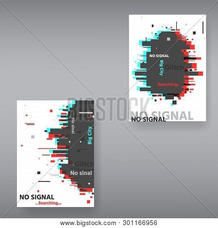Glitch Page Template . Tv Distorted Signal Chaos, Glitched Effect Distortion Color Photo Dissolution