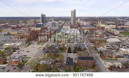 Colorful Buildings Businesses And Churches Line Up By Streets In This Aerial View Of Fort Wayne Indi