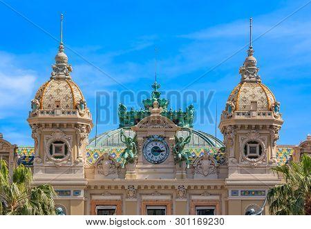 Monte Carlo, Monaco - April 20, 2016: Ornate Details Of The Famous Grand Casino Or Monte Carlo Casin