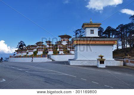 The 108 Memorial Chortens Or Stupas Known As Druk Wangyal Chortens At The Dochula Pass, Bhutan.