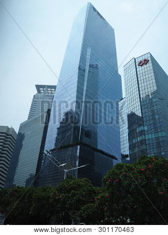 Jakarta, Indonesia - April 17, 2019: Background Of Tall Buildings Of Setiabudi District On Jalan Sud