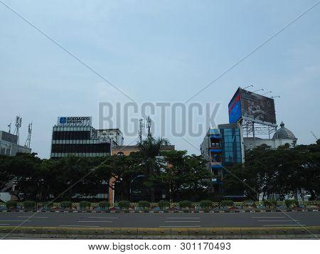 Jakarta, Indonesia - April 17, 2019: Cityscape Of Dukuh Atas District On Jalan Sudirman.