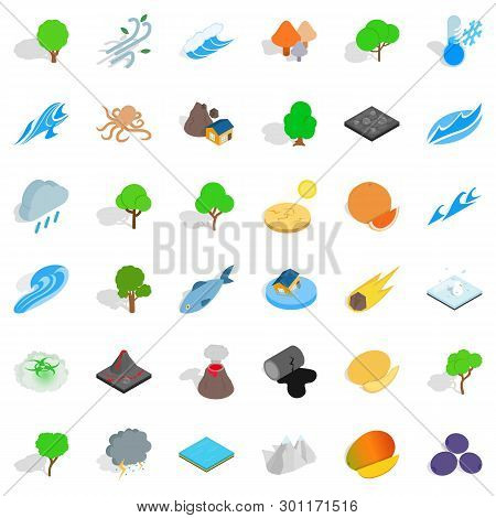 Land Icons Set. Isometric Style Of 36 Land Icons For Web Isolated On White Background
