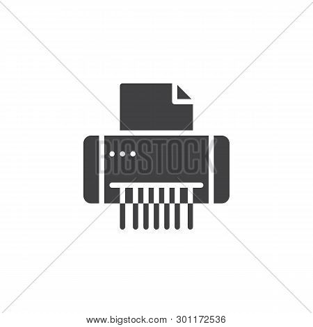 Paper Shredder Machine Vector Icon. Filled Flat Sign For Mobile Concept And Web Design. Document Shr