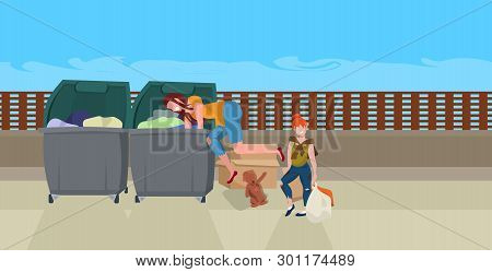 mother and daughter tramps searching food and clothes in trash can on street beggars family homeless concept horizontal full length poster