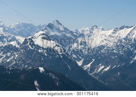 Mountain Range Nature Landscape. Mountain Layers Landscape. Springtime In Alps Mountain Landscape. S