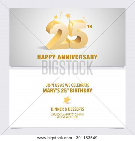 25 Years Anniversary Invitation Card Vector Illustration Design Template Element With Elegant 3D Letters For 25th Birthday Party Invite