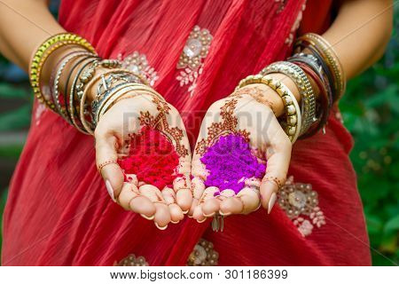 Beautiful Woman In Traditional Muslim Indian Wedding Green Sari Dress Hands With Henna Tattoo Mehndi