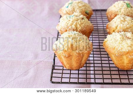 Pumpkin Apple Oats Streusel Muffins On Cooling Rack. Selective Focus. Copy Space.