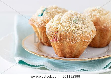 Healthy Apple Oats Streusel Muffins On White Plate. Selective Focus. Copy Space.