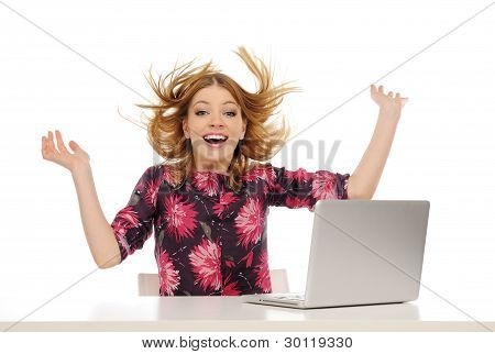 Happy Young Beautiful Woman With Laptop