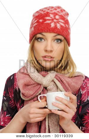 Beautiful Woman Holding A Cup Of Coffee,