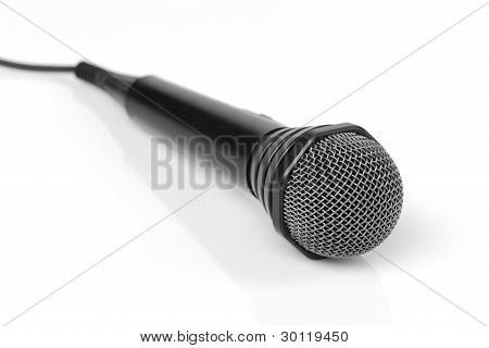 Microphone With Cable On A White Background