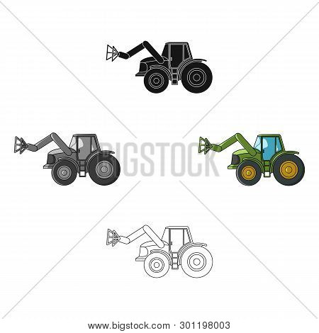 Combine With Long Hydraulic Legs To Capture The Hay.agricultural Machinery Single Icon In Cartoon, B