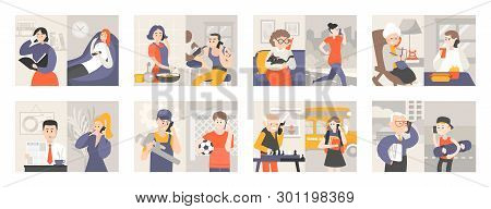 People With Mobile Phones Vector, Man At Work Having Conversation, Woman Cooking, Teenager And Grann