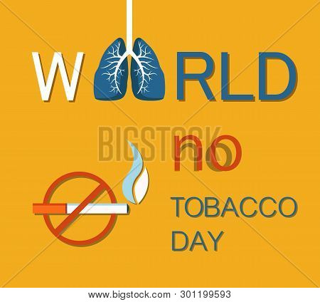 World No Tobacco Day Banner Isolated On Yellow, Colorful Vector Illustration Of Struggle With Unheal