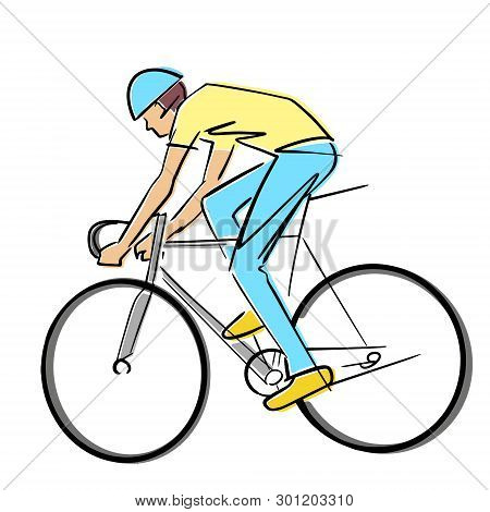 Single male bicyclist on bicycle. Vector cycling race illustration. Colorful drawing. Isolated black contour and colors. poster