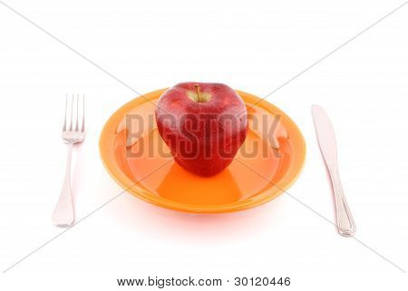 Fresh Apple On A Plate