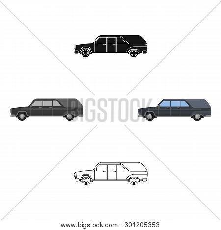 Hearse Icon In Cartoon, Black Style Isolated On White Background. Funeral Ceremony Symbol Stock Vect