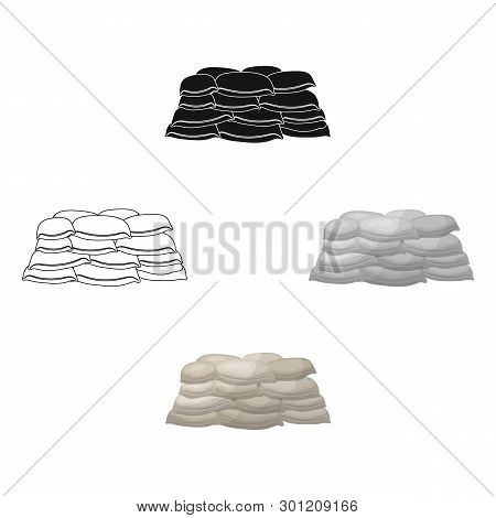 Barricade Of Bags Of Sand.paintball Single Icon In Cartoon, Black Style Vector Symbol Stock Illustra