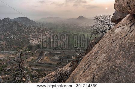 Morning In Hampi On  Matanga Hill Overlooking The  Achaturaya Temple