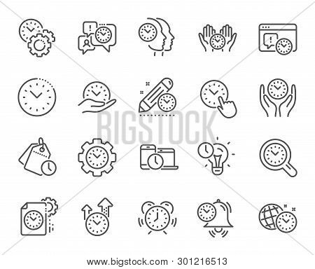Time Management Line Icons. Alarm Clock, Timer Plan And Project Deadline Signs. Countdown Clock, Tim