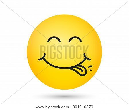 Yummy Smiley Emoticon With Tongue Lick Mouth. Tasty Food Eating Emoji Face. Delicious Cartoon With S