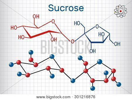 Sucrose Sugar Molecule. Structural Chemical Formula And Molecule Model. Sheet Of Paper In A Cage. Ve