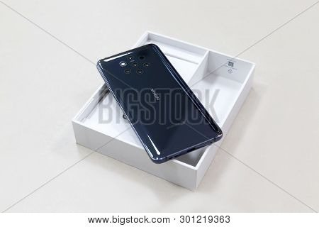 Belgrade, Serbia - May 08, 2019: New Nokia 9 Pure View Mobile Smartphone Is Displayed From Rear Side