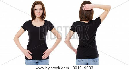 T-shirt Design And People Concept - Close Up Of Young Girl In Blank Black T-shirt, Shirt Front And B