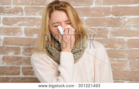 Sneezing Non Stop. Pretty Girl Sneezing Of Seasonal Influenza Virus. Cute Woman Caught Nasal Cold Or