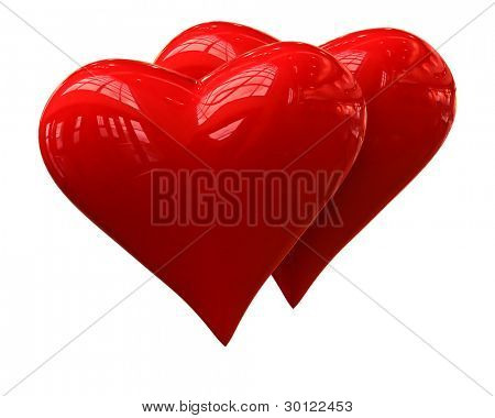A couple of shiny hearts on a white background
