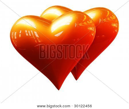 A pair of golden hearts on a white background