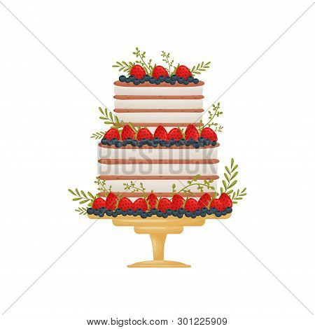 Three-level Striped Cake. Decorated With Strawberries And Blueberries. Vector Illustration On White