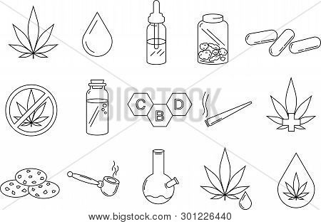 Cannabidiol (cbd) Icon Set - Included In The Set Are Edibles, Oil Vials, Marijuana Leaves, And Other