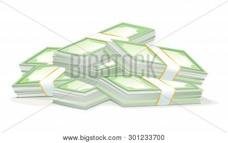 Big Bundles Of Money Isolated Illustration, Cash Money Stacks Concept Of Wealth, Scattered Stacked P
