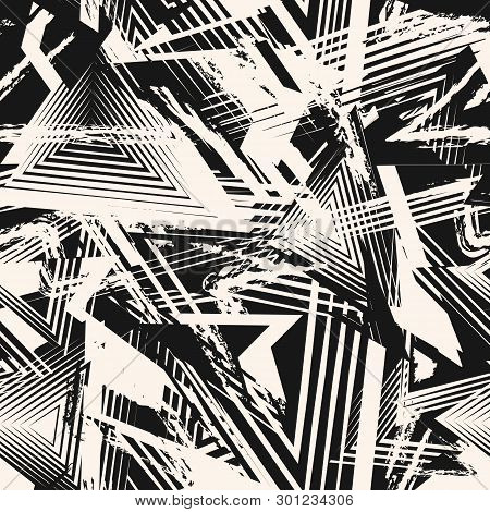 Abstract Black And White Grunge Seamless Pattern. Urban Art Texture With Chaotic Shapes, Lines, Tria
