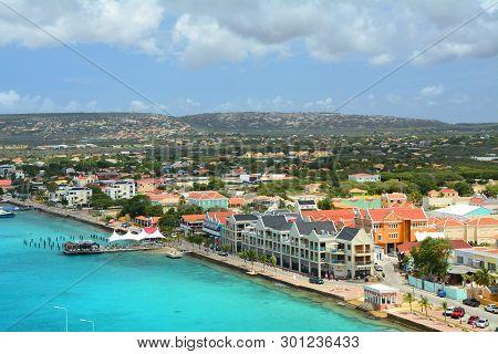 Bonaire, Caribbean - March 26, 2017 : Kralendijk Waterfront, Capital City Of Bonaire View From Cruis
